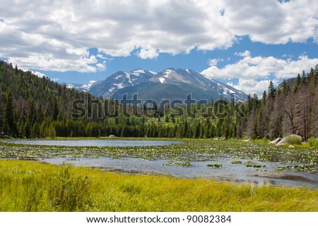 view of Cub lake in Rocky Mountains National Park, Colorado in summer - stock photo