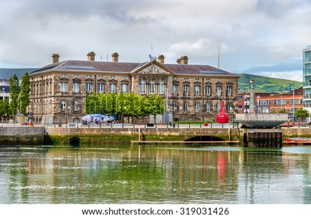 View of Custom House over the river Lagan in Belfast - stock photo