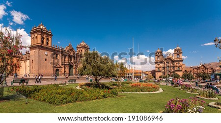 View of  Cuzco cathedral church - stock photo