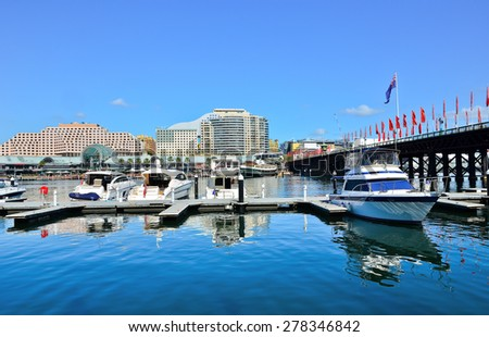 View of Darling Harbour in Sydney  - stock photo