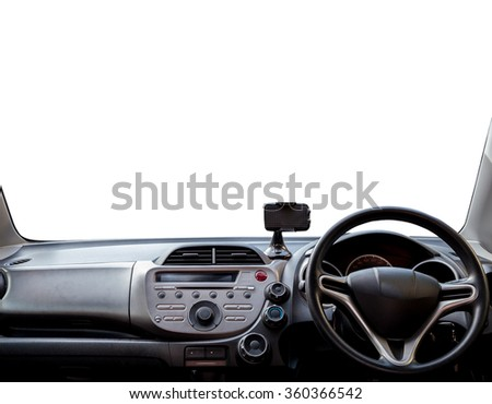 view of dashboard a car on white,with clipping path - stock photo
