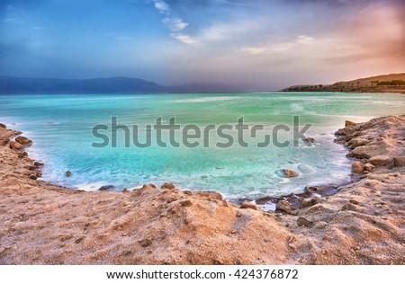 View of Dead Sea coastline at sunset, Israel - stock photo