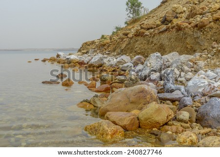 View of Dead Sea coastline in Jordan. - stock photo