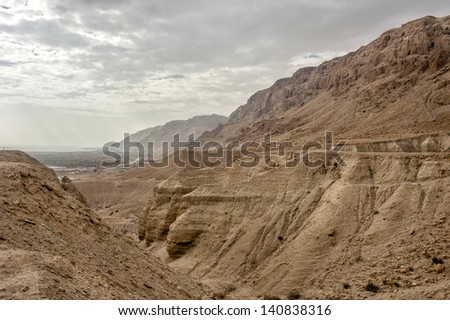 View of Dead Sea mountains. Israel