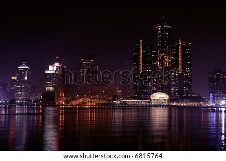 view of Detroit skyline at night, Michigan - stock photo
