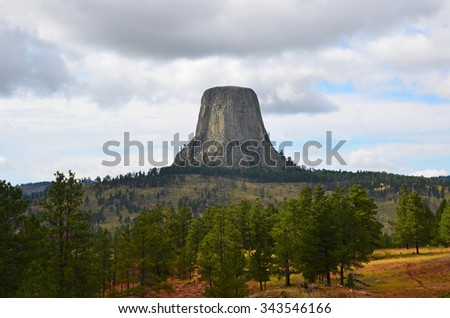 view of Devil's Tower in Wyoming, USA