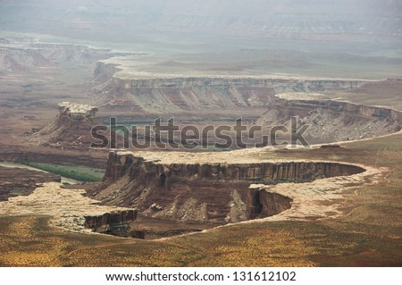 View of distant canyons from Island of the Sky in Canyonlands National Park, Utah, USA - stock photo