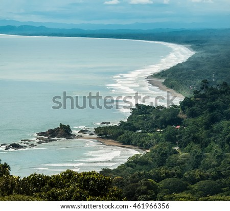 View of Dominical Beach and Ballena National Park  in the Pacific coast of Costa Rica