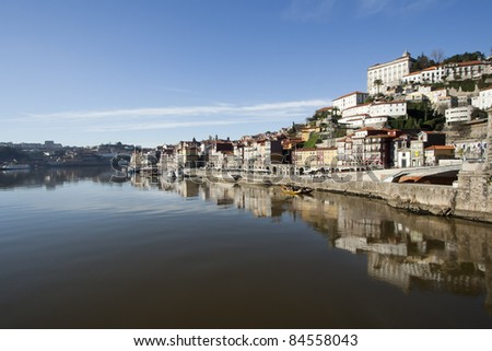 view of Douro river embankment of Porto city, Portugal - stock photo