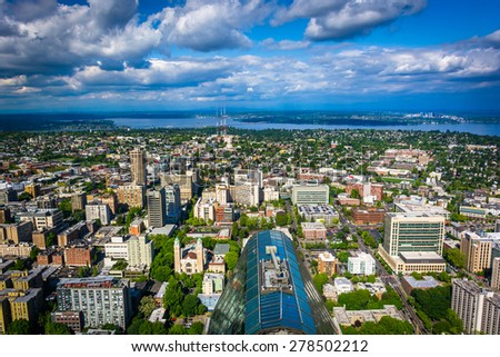 View of downtown and Lake Washington, in Seattle, Washington. - stock photo