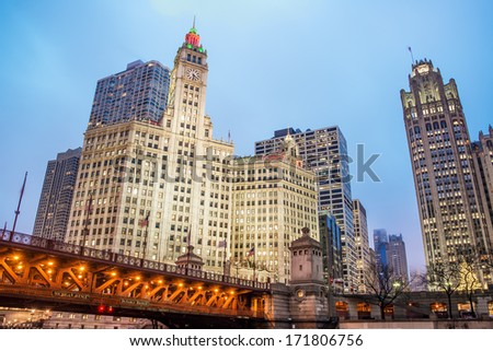 View of downtown Chicago in the area around Michigan Avenue - stock photo