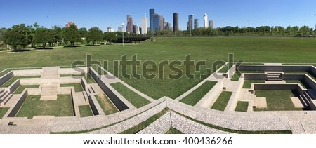 View of downtown city of Houston from Police Memorial - stock photo