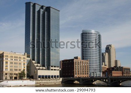 View of downtown Grand Rapids, MI - stock photo