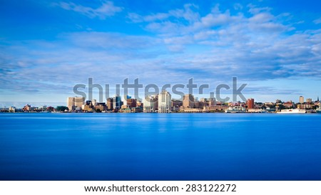 View of downtown Halifax from Dartmouth with the waterfront and Purdy's Wharf, Halifax, Nova Scotia, Canada. - stock photo