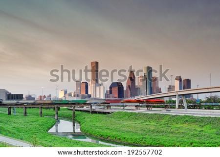 View of Downtown Houston Skyline from Hogan Street Bridge Houston Texas - stock photo