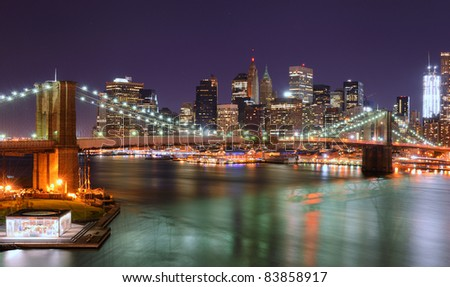 View of Downtown New York City and Brooklyn Bridge - stock photo