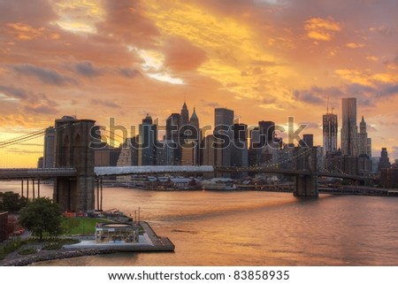 View of Downtown New York City with dramatic clouds. - stock photo