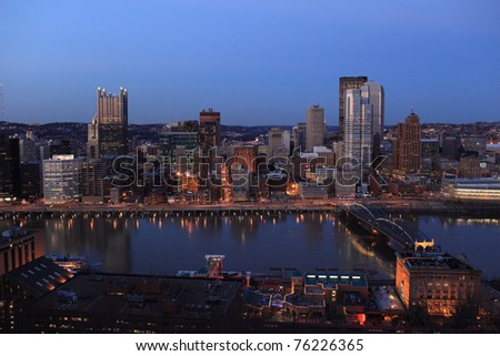 View of downtown Pittsburgh from Mount Washington - stock photo