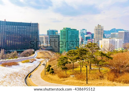 View of downtown Seoul from Namsan park in the winter