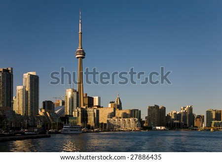 View of downtown Toronto from the lake Ontario