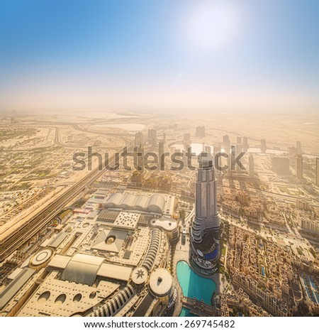 View of Dubai downtown from the top, Dubai, UAE