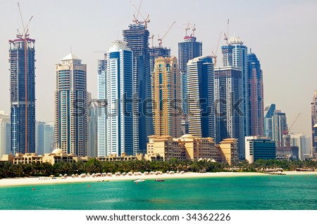 View of Dubai Marina from the Palm Jumeirah Island - stock photo