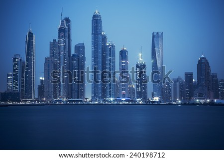 view of Dubai, special photographic processing, UAE - stock photo