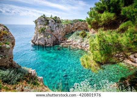 View of Dubrovnik, Croatia coasline. Bay and crystal clear water of Adriatic Sea. - stock photo