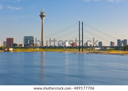 View of Dusseldorf at sunset time