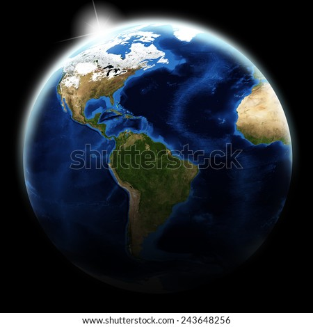 View of earth at America zone on black background. Elements of this image furnished by NASA - stock photo