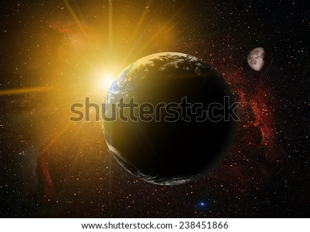 "view of Earth from outer space with millions of stars around it.""Elements of this image furnished by NASA  - stock photo"
