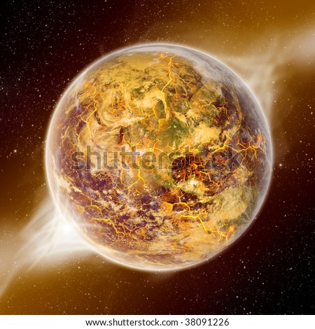 View of Earth from space - End of the world - Apocalypse - stock photo