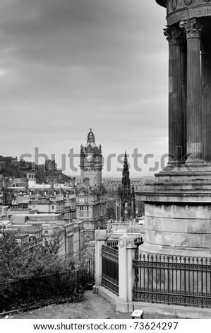 View of Edinburgh city from Calton Hill, Scotland - stock photo