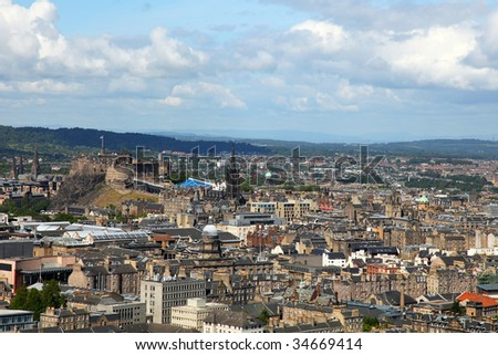 view of edinburgh from salisbury's crag - stock photo