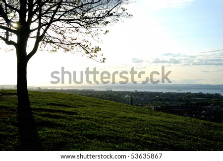 View of Edinburgh in sunset, Britain - stock photo