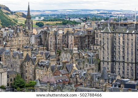 View of Edinburgh Old Town is Scotland, United Kingdom. This is the oldest part of Scotland's capital city and has preserved much of its medieval street plan and many Reformation-era buildings.