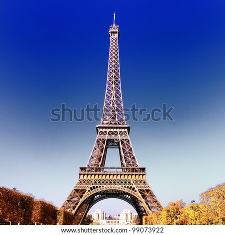 view of Eiffel Tower in Paris in autumn - stock photo