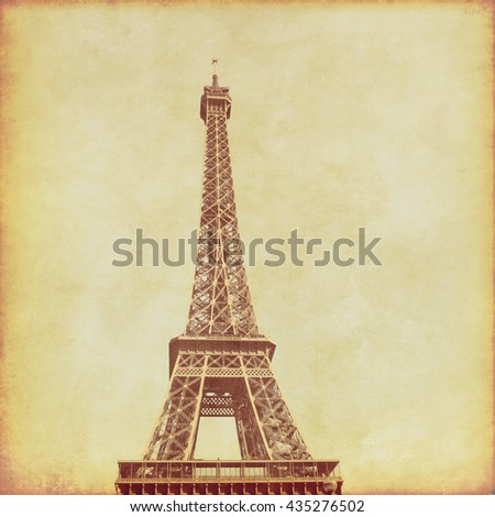 View of Eiffel Tower in Paris. Old style photo. - stock photo