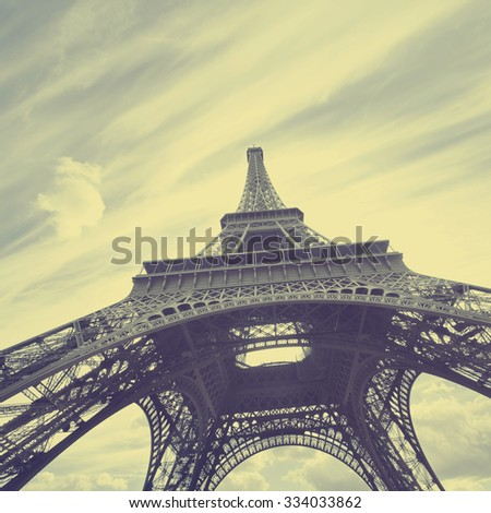 View of Eiffel tower in Paris. Vintage style. - stock photo