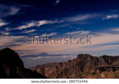 View of El Teide Volcan in Tenerife From Gran Canria Mountains Canary Islands Spain - stock photo