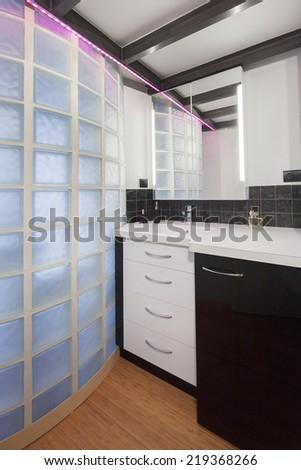 View of elegant bathroom - stock photo