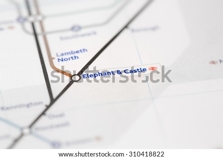View of Elephant & Castle station on a London subway map. (selective colouring) - stock photo
