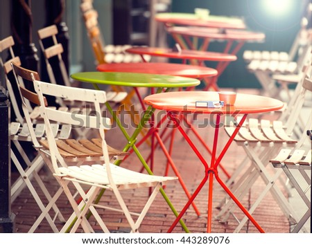 View of empty outdoor cafe, focus on the table - stock photo