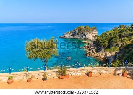 View of endless blue sea on coast of Samos island, Greece - stock photo