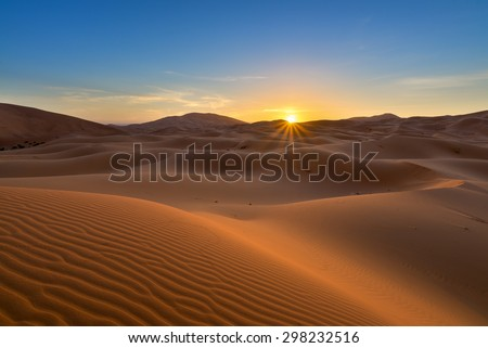 view of Erg Chebbi Dunes -  Sahara Desert - at sunrise, in Morocco - stock photo
