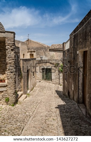 View of Erice (a historic town and comune in the province of Trapani in Sicily, Italy).