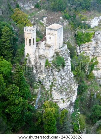 View of Erice, Sicily Castle - stock photo