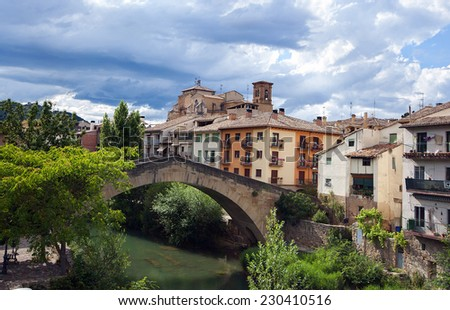 View of Estella.Navarre.Spain.the Pilgrim's Road to Santiago de Compostela - stock photo