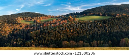View of European countryside during the autumn time, panoramic picture. - stock photo