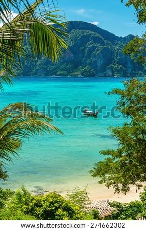 View of exotic paradise bay on Phi Phi Island, Phuket, Thailand - stock photo